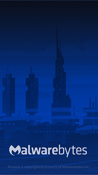 Blue futuristic cityscape with off-white Malwarebytes logo in the center